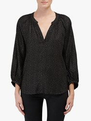Velvet By Graham And Spencer Shirley Foil Print Blouse Black Multi