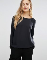 Vila Long Sleeve Dip Hem Top Black