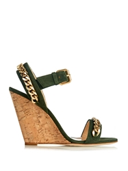 Giuseppe Zanotti Chain Embellished Suede Cork Wedges