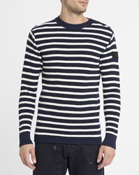 G Star Blue Dadin Button Shoulders Sailor Stripe Sweater