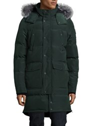 Moose Knuckles Ontario Fox Fur Trimmed Hooded Parka Hunter Green