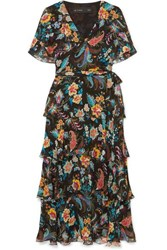 Etro Ruffled Floral Print Silk Chiffon Wrap Effect Dress Black