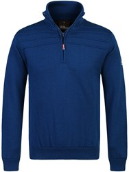 Oscar Jacobson Men's Orson Lined Half Zip Jumper Mid Blue