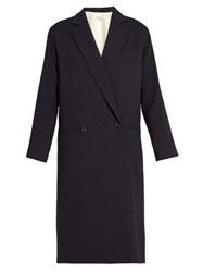 Masscob Double Breasted Wool Twill Coat Navy