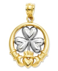 Macy's 14K Gold And Sterling Silver Charm Claddagh And Shamrock Charm