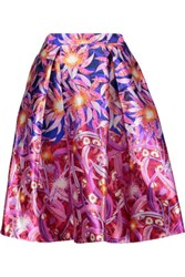 Peter Pilotto Pleated Printed Silk Crepe Skirt Bright Pink