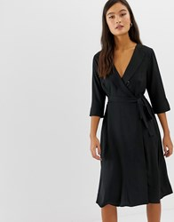 Amy Lynn 3 4 Sleeve Wrap Front Dress Black