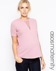 Asos Maternity Textured T Shirt With Lace Insert Blush