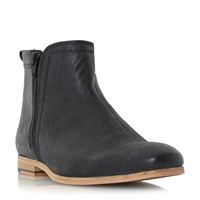 Linea Medal Side Zip Detail Leather Boots Black
