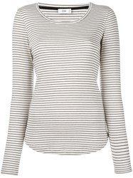 Closed Scoop Neck Striped T Shirt Nude Neutrals