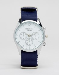 Reclaimed Vintage Chronograph Canvas Watch In Blue Blue