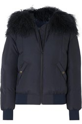 Mr And Mrs Italy Shearling Trimmed Down Bomber Jacket Navy