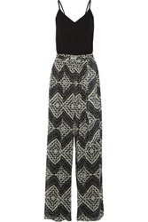 Alice Olivia Samson Jersey And Printed Chiffon Jumpsuit Black