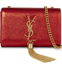Saint Laurent Monogram Small Foil Leather Clutch Rouge Red Metallic