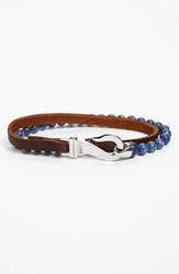 Men's L. Jonas Bead And Leather Wrap Bracelet Lapis Blue Brown