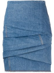Philosophy Di Lorenzo Serafini Gathered Denim Mini Skirt 60