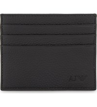 Armani Jeans Logo Grained Leather Card Holder Black