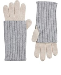 Barneys New York Women's Layered Look Stockinette Stitched Gloves Grey