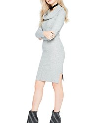 Miss Selfridge Fold Over Heathered Dress Grey