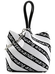 Alexander Wang Logo Stripe Tote Bag White