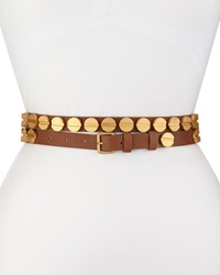 Haute Hippie Long And Winding Road Belt With Round Studs Cognac Gold