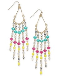 Inc International Concepts Gold Tone Multicolor Beaded Fringe Earrings Only At Macy's