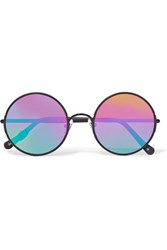 Sunday Somewhere Yetti Round Frame Metal Mirrored Sunglasses Black