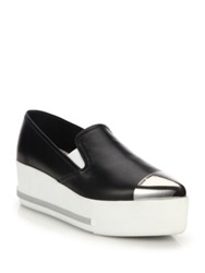 Miu Miu Metal Accented Wedge Skate Sneakers White Black