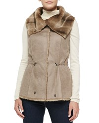 Alberto Makali Sueded Fabric Vest With Faux Fur Collar Women's