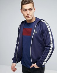Fred Perry Sports Authentic Hooded Track Jacket In Blue Carbon Blue Navy