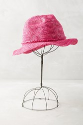 Anthropologie Overdyed Straw Fedora Pink