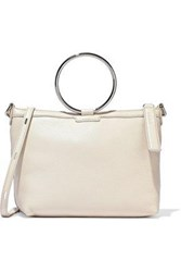 Kara Woman Ring Pebbled Leather Shoulder Bag Off White Off White