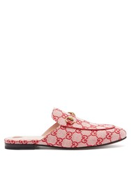 Gucci Princetown Logo Jacquard Backless Loafers Red Multi
