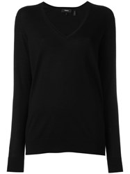 Theory V Neck Jumper Black
