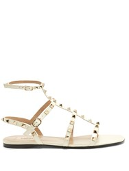 Valentino Rockstud Patent Leather Flat Sandals Ivory