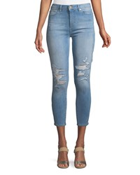 Dl1961 Chrissy High Rise Skinny Distressed Denim Jeans Blue
