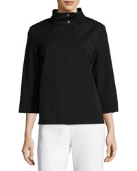 Ming Wang 3 4 Sleeve Zip Front Jacket Black
