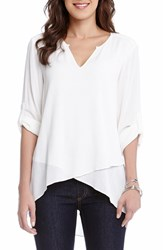 Women's Karen Kane Asymmetrical Hem Faux Wrap Top Off White