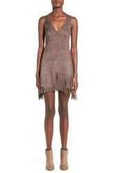 Junior Women's Whyte Eyelash Faux Suede Fringe Dress