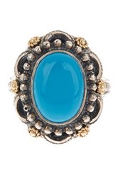 Dani G Jewelry 14K Yellow Gold And Sterling Silver Large Oval Turquoise Ring Blue
