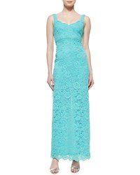 Nicole Miller Sleeveless Lace Gown Aqua Blue