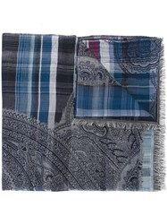 Etro Checked Scarf Blue