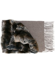 N.Peal Variated Rabbit Fur Scarf Grey