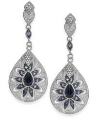Macy's Sapphire 1 1 4 Ct. T.W. And Diamond Accent Antique Earrings In Sterling Silver Blue