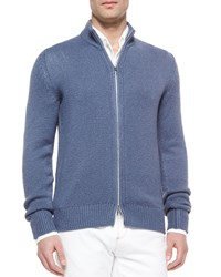 Loro Piana Roadster Baby Cotton Cashmere Mezzo Full Zip Sweater Smoke Blue Infant Boy's