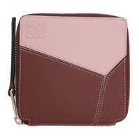 Loewe Red And Pink Puzzle Square Zip Wallet