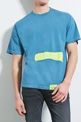 Forever 21 Eptm. Painted Geo Graphic Tee Blue Neon Yellow