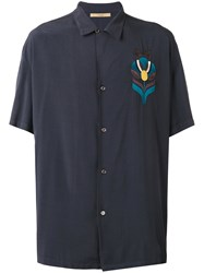 Nuur Embroidered Figure Shirt Blue