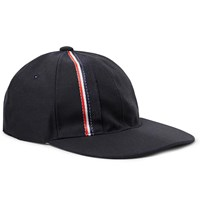 Thom Browne Striped Selvedge Trimmed Wool And Mohair Blend Baseball Cap Blue