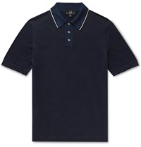 Dunhill Slim Fit Silk Trimmed Knitted Cotton Polo Shirt Blue